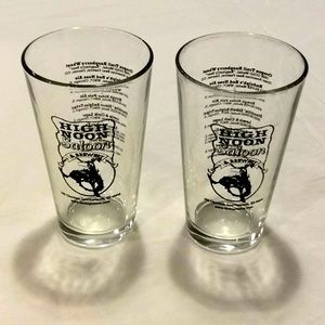 High Noon Saloon Clear Pint Beer Glasses Set of 2